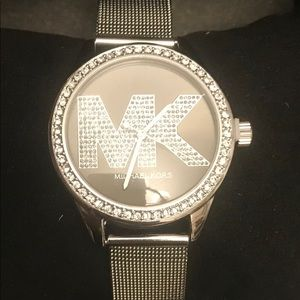 New Michael Kors Black/Crystal Face Silver Watch